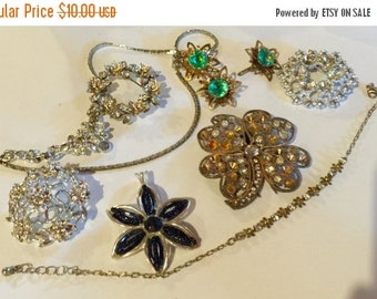 MOVING SALE Half Off Shabby Chic  Lot of Vintage  and Salvaged Colorful Rhinestone and Pearl Flower Jewelry Parts and Pieces