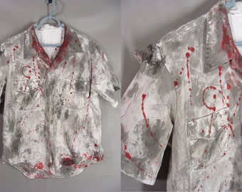 Bloody Zombie Costume. ZOMBIE MAN Costume. Distressed Shirt. ZOmbie Apocalypse. Adult Costume. Mens Size xl