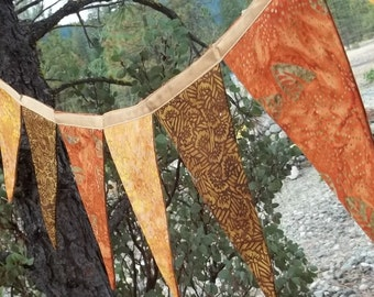 Fall Colors Double Sided Batik Banner Bunting Prayer Flags