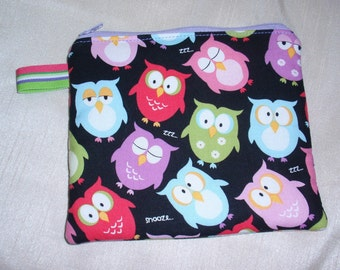 Zipper Pouch, Key Ring, Sleepy Owl, Coin Pouch, Cosmetic Bag, Purse Organizer, Paci Pod