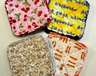 Pair of Rag Quilted Fabric Pot Holders 4 prints to choose from (Group B) Cherries,Bluebirds, Mushrooms, Bacon and Eggs