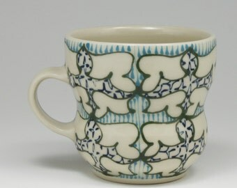 Coffee Mug - Handmade Ceramic Cup with Dark Green, Turquoise and Navy Pattern