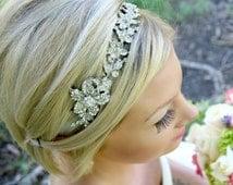 Bridal Hair Vine - Rhinestones In a Silver Floral Design