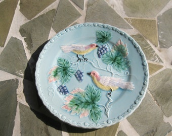 "Zell German Majolica Bird & Vine Plate Vintage Grape Motif 7.5"""