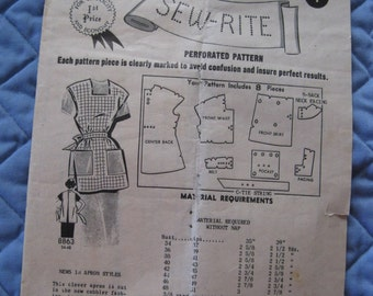 1950's Mail Order Sew-Rite Pattern 8863 Cobbler Apron Bust 40