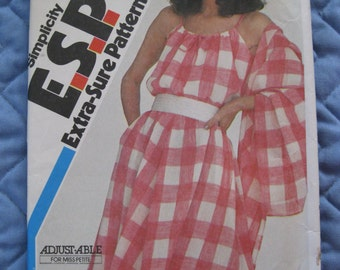 1987 New Simplicity Sewing Pattern 5984 Pullover Dress Shawl Miss Size 0 12 14 16