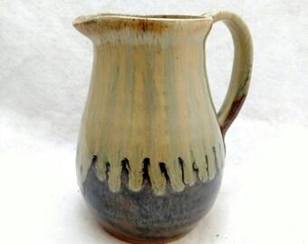 Pottery Pitcher - Handthrown ceramic pitcher - Rustic Stoneware pitcher - Kitchen decor - Kitchen Pitcher -Olive Green
