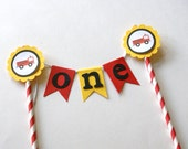 Firetruck  Cake Bunting, Firetruck Cake Topper, Fireman Cake Topper, Firetruck Birthday Party, Firetruck Party Theme, Red and Blue (FIRE-3)
