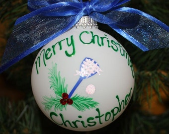 Lacrosse Personalized Ornament - Handpainted with holly & berries made of Swarovski rhinestones - Made to Order