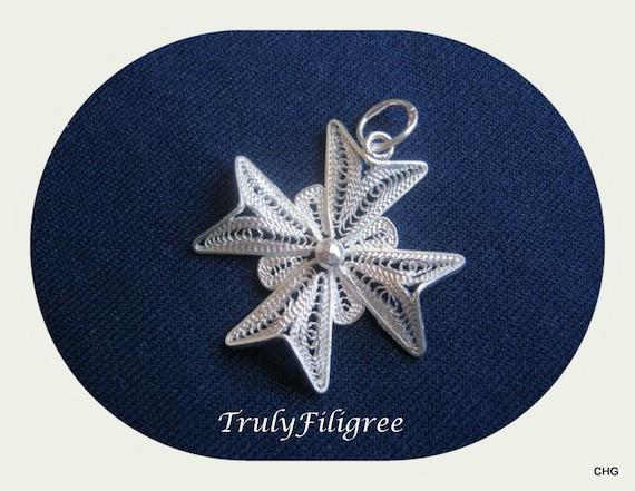 Handmade Sterling Silver Maltese Cross Filigree Pendant  2.50cm
