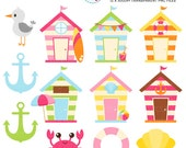 Cute Beach Houses Clipart Set - beach huts, anchor, seagull, summer, clip art set - personal use, small commercial use, instant download