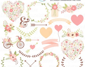 Floral Love Clipart Set - flowers, leaves, banners, hearts, wedding clip art, love - personal use, small commercial use, instant download