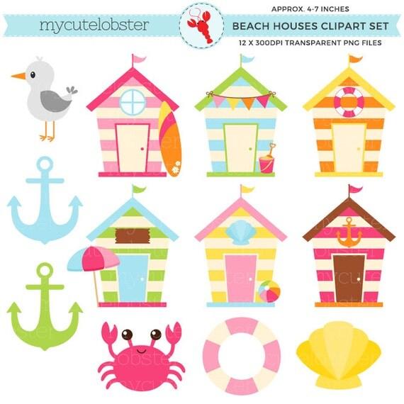 Cute Beach Houses Clipart Set - beach huts, anchor ...