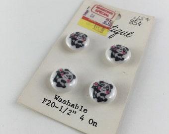 Vintage Panda Bear Buttons