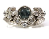 Green Gray Sapphire Diamond Leaf Engagement Ring Set - Art Deco Nature Wedding Rings - Ready to Ship Size 5 - 7.5