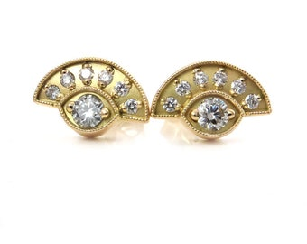 Diamond Evil Eye Post Earrings - 18k Yellow Gold Modern Stud Earring