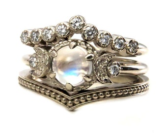 moonstone engagement ring set diamond chevron wedding band and millgrain stacking ring - Moonstone Wedding Rings