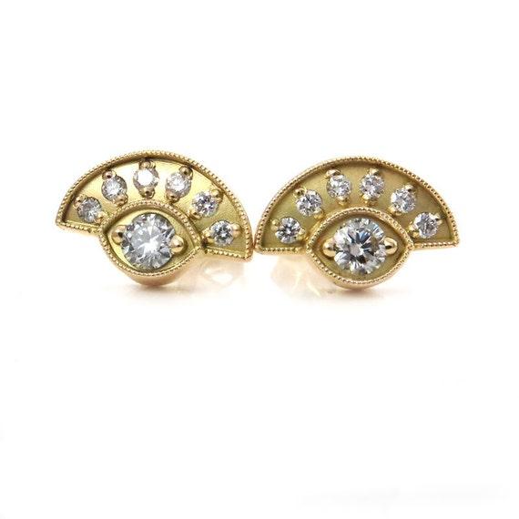 Diamond Evil Eye Post Earrings - 18k Yellow Gold Modern Stud Earring - Ready to Ship