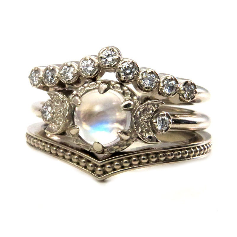 Moonstone Engagement Ring Set Diamond Chevron Wedding Band