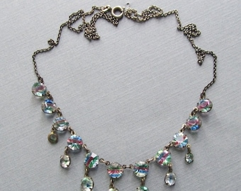 Summer Sale Art Deco 835 Silver Rainbow Crystal Necklace Antique Jewelry