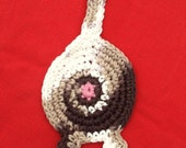 Crochet Cotton Cat Butt Coaster Cat Lady Humor kitty clowder brown tabby