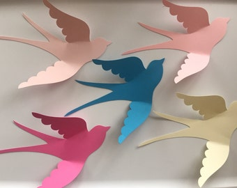 Ready to ship, 5 large paper birds, 3d wall art, paper bird wall art, 3d wall birds