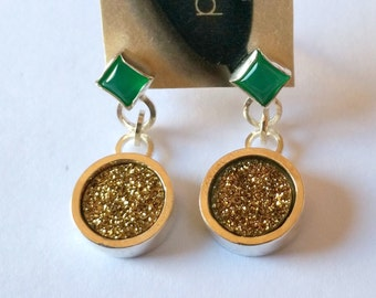 Square Green Agate , Gold Titanium Druzy Sterling Silver Stud Ear-rings Handmade