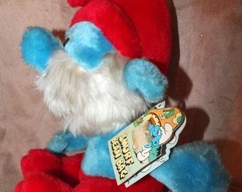 Vintage 1979 Peyo Wallace Berrie Papa Smurf Plush Doll With Tag
