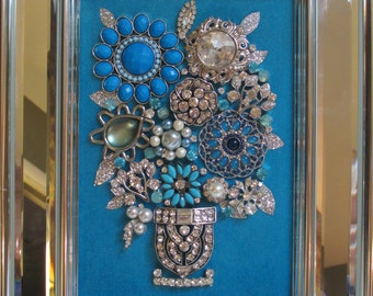 Jeweled Framed Jewelry Flower Bouquet Mirror Frame Turquoise Blue Vintage