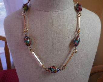 Vintage Millefiore Beaded Glass Necklace Gold Tone Bars Linked Colorful Red/White/Blue 1940s to 1970s Lightweight
