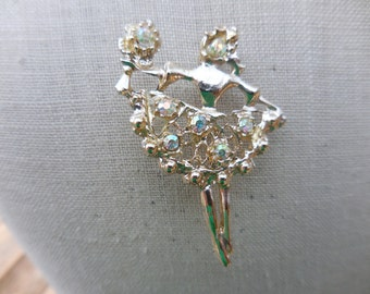Vintage 1950s Gold Tone Ballet/Spanish Dancer Pin/Brooch Iridescent Rhinestones Holding Flowers