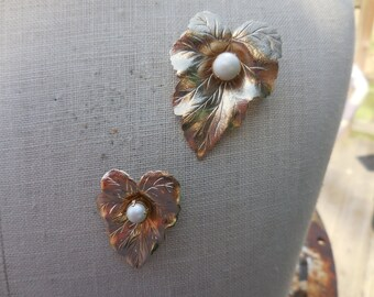 Vintage 1950s to 1970s Gold Tone Pearls on Leaves Small and Large Pins/Brooches Set Sarah Coventry Two (2)