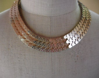 Vintage Gold Tone Lightweight Thick Chunky Hong Kong Ajustable 1950s to 1960s Snake Like Choker Necklace