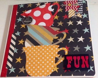Disney scrapbook mickey mouse premade pages chipboard book- 8 x 8 simple stories album