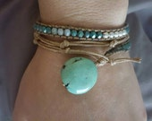 Turquoise and Leather Triple Wrap Bracelet