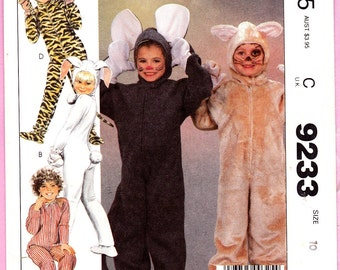 McCall's 9233 Bunny Mouse Leopard Cat Child's Costumes Sz 10 Uncut Pattern