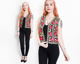 Vintage 1960s Vest - Embroidered Floral Ethnic Silk Cotton Cropped Top 60s - Small