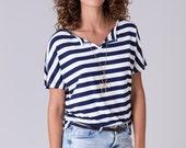 Stripe women shirt striped tshirt breton stripe navy blue white stripe tee French striped shirt