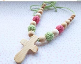 FLASH SALE SALE Nursing/Teething Necklace with a Cross pendant - juniper wood - light green & pink