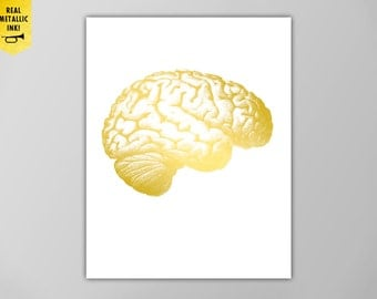 Gold Human Anatomy Brain Print, Gold Brain Print, Metallic Ink, Human Brain in Gold, Brain Gold Print, Gold Ink, Human Anatomy, Gold Brain
