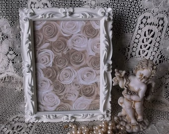 Shabby Vintage, Ornate frame,  creamy white, Romantic home decor