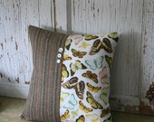 Butterfly, Tweed Decorative Throw Pillow Cover - 14 Inch