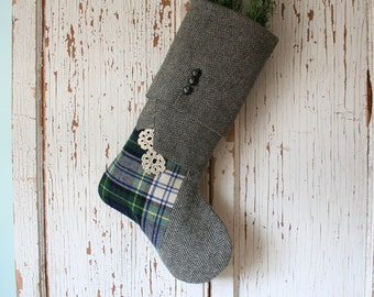 Gray Tweed, Tartan CHRISTMAS STOCKING, with Vintage Lace