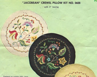 1970s Jacobean Crewel Pillow Kit 0608 Paragon Boxed Linen Pillow Kit Complete with Piping Zipper Backing Pillow Kit Birthday Gift for Her
