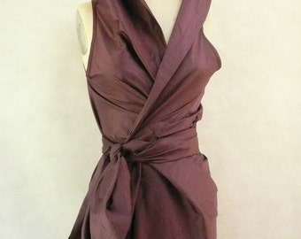 Maria Severyna in Dusty Mauve Color Dupioni Wrap Dress Mother of the Bride Dress - available in many colors
