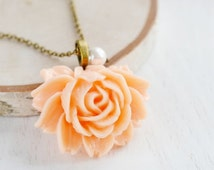 ON SALE Peach Rose Necklace,Blooming Flower Charm Necklace,Long Necklace,Flower Jewelry,Bridesmaid Necklace,Pearl Necklace,Shabby Chic,Gift