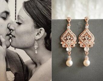 Rose Gold Wedding Earrings, Bridal Earrings, Swarovski Crystal Chandelier Earrings, Dangle Earrings, Vintage Style Bridal Jewelry, GRACE