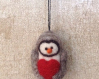 Wool Needle felted owl soft sculpture bird ornament with heart