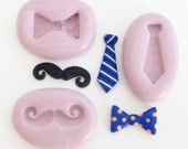 Tie, bow tie, moustache 3 mini molds 1332 - silicone flexible mold, craft mold, porcelain mold, jewelry mold, food mold,  mould, molde