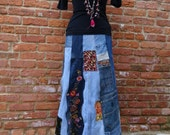 Maxi Jean Skirt,Upcycled Jean Skirt,Boho Skirt,Hippie Skirt,Nine Muses Of Crete